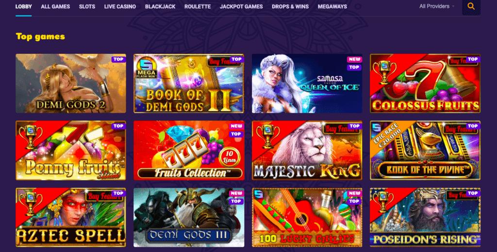 Samosa Casino Games lobby