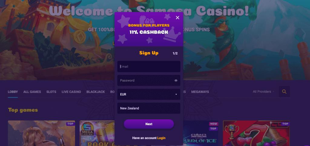 Samosa Casino registration