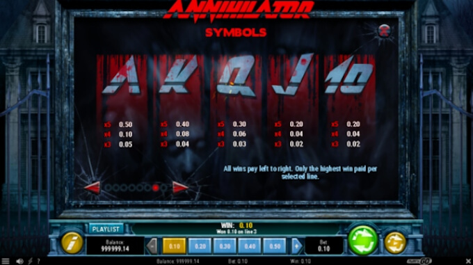 Annihilator slot payouts
