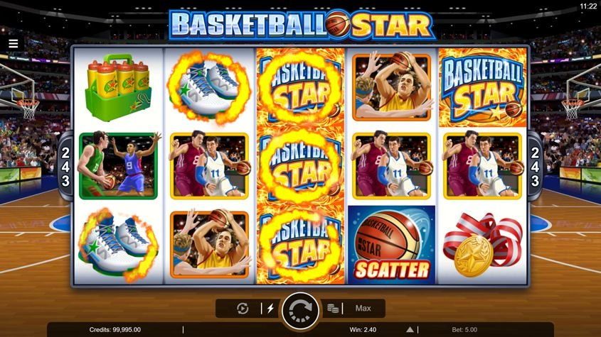 basketball star on fire pokie nz