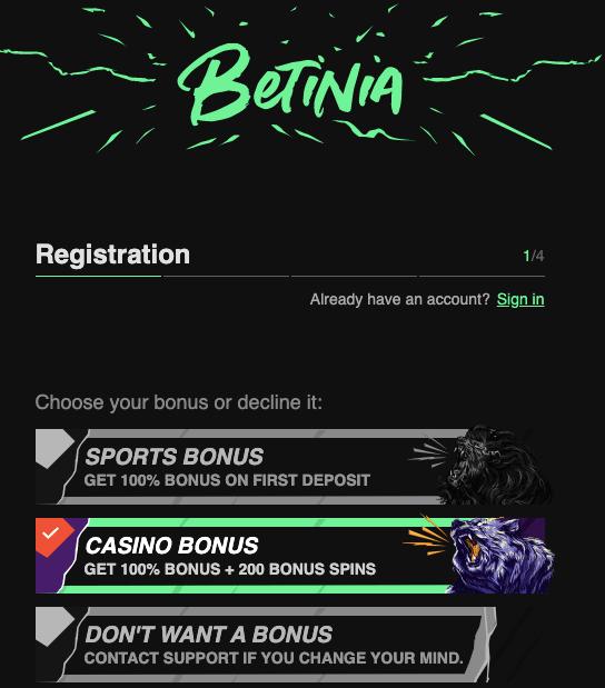 Betinia Casino registration