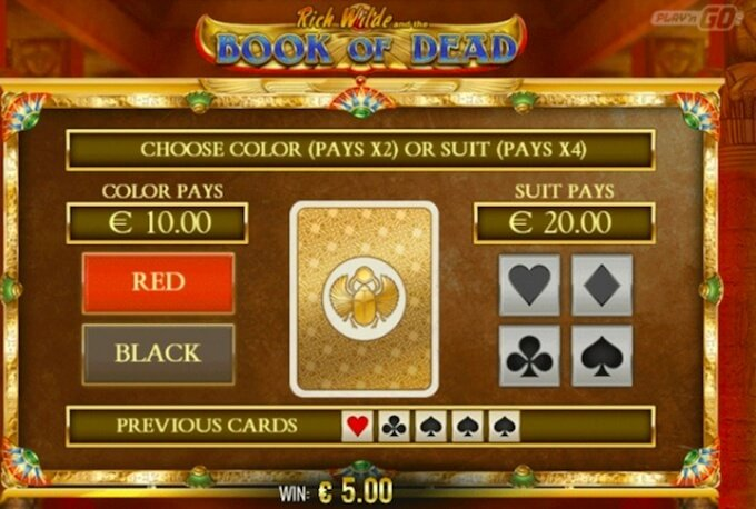 Book of Dead slot review - gamble feature