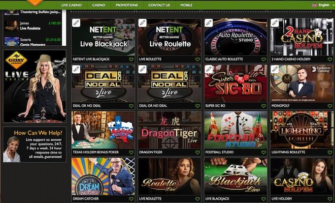 gday live dealer casino games