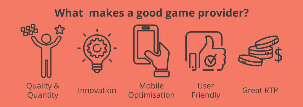 Factors that make a good casino game provider