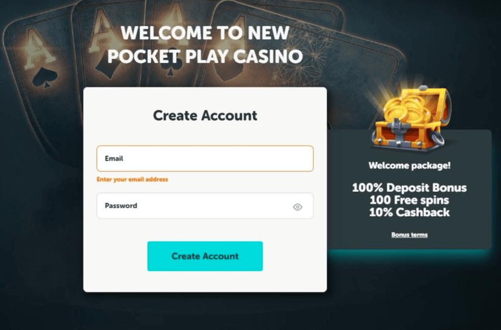 create account at Pocket Play