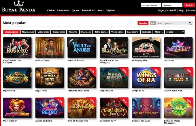 Royal Panda Casino games online