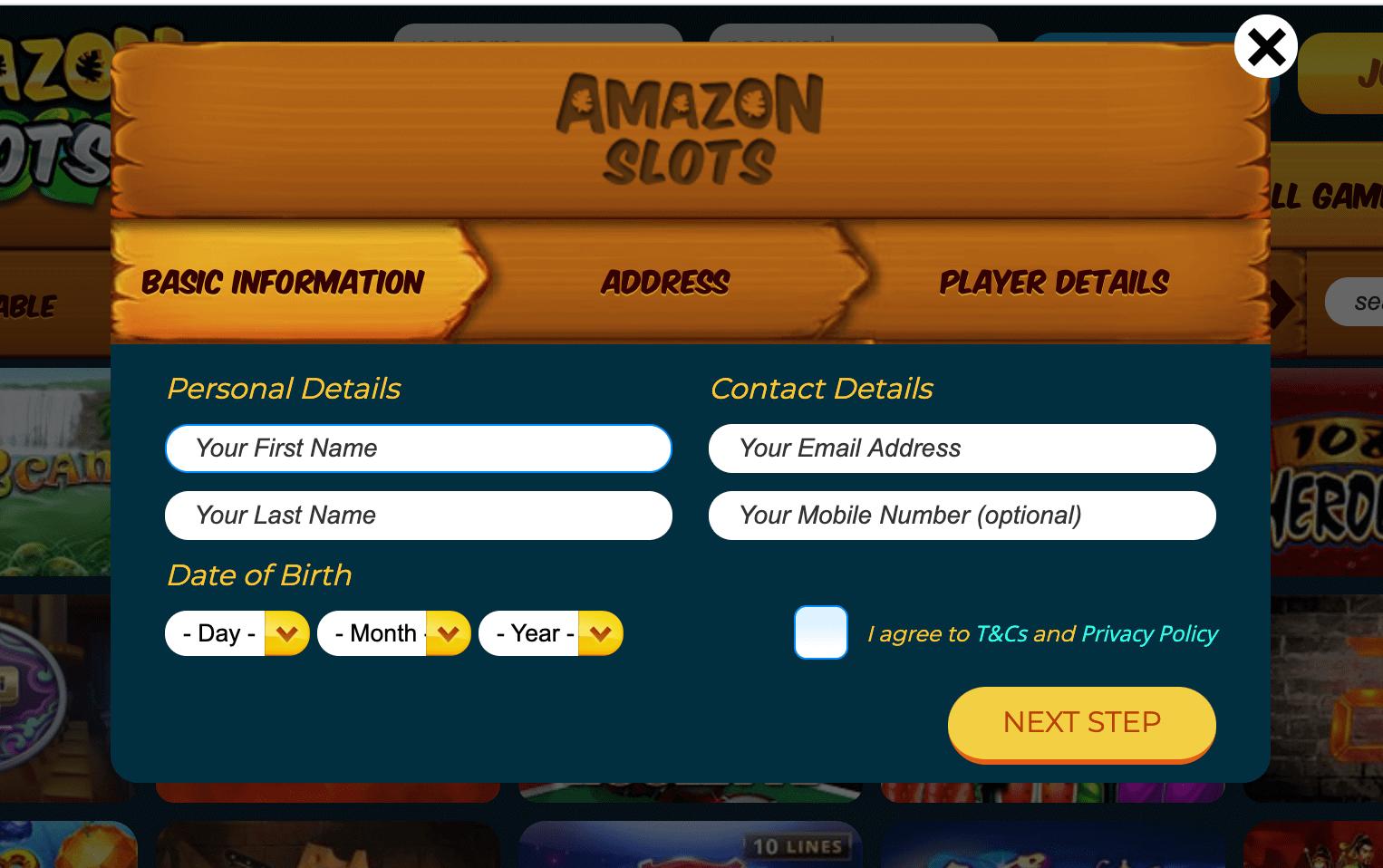 details sign up amazon slots